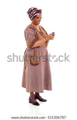 senior african woman using smart phone isolated on white - stock photo