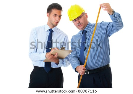 senior and junior businessman discuss and argue over something during their meeting, one of them wear hardhat, isolated on white - stock photo