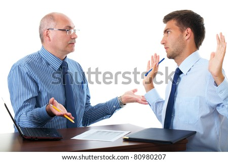 senior and junior businessman discuss something during their meeting, isolated on white - stock photo