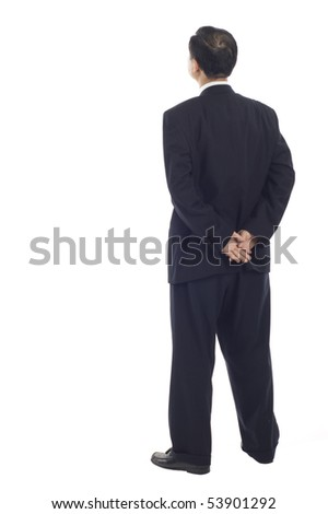 Senior Asian Business man from the back - looking at something over a white background - stock photo