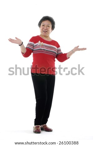senior asian woman holding his palms up isolated on white - stock photo