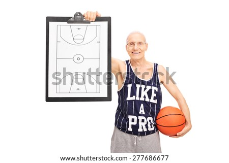 Senior basketball coach showing a clipboard with a basketball court on it isolated on white background - stock photo