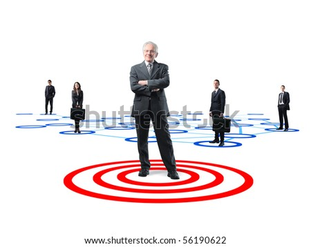 senior business leader and his teamwork on 3d connection background - stock photo