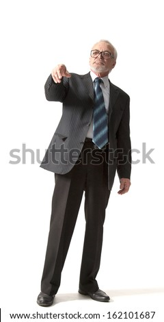 senior business man pointing to the straight isolated over white background - stock photo