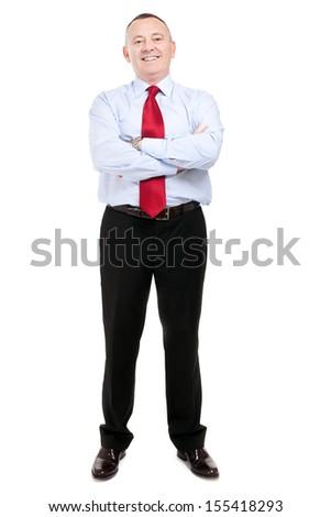 Senior businessman full length portrait  - stock photo