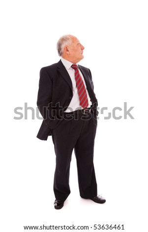 Senior businessman looking to the copy space(isolated on white) - stock photo