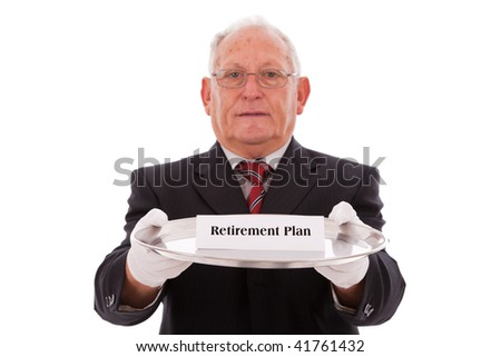 Senior businessman offering you the best solution for a retirement plan - stock photo