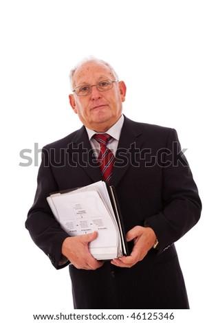 senior businessman with documents (isolated on white) - stock photo