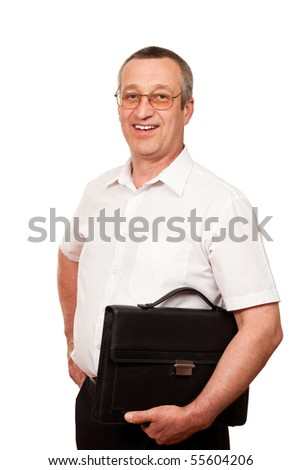 senior businessman with leather briefcase isolated on white background - stock photo