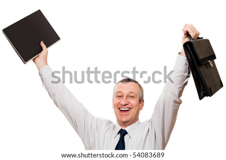 senior businessman with notebook and briefcase in the lifted hands - stock photo
