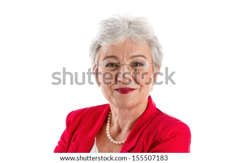 Senior businesswoman smiling - stock photo