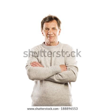 Senior casual man style portrait, studio shot, isolated on white background - stock photo