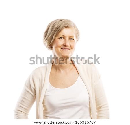 Senior casual woman style portrait, studio shot, isolated on white background - stock photo