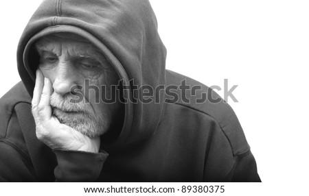 Senior Citizen Being Reflective - stock photo