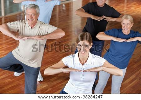 Senior citizens doing dance training in fitness center - stock photo