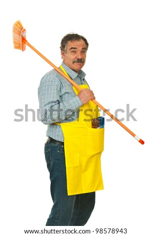Senior cleaning man carrying broom isolated on white background - stock photo