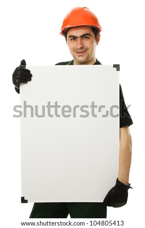 Senior constructor holding the blank board on a white background - stock photo