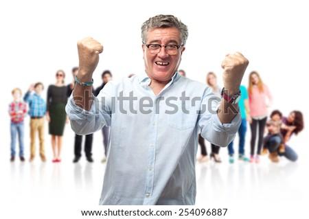 senior cool man celebrating gesture - stock photo