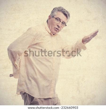 senior cool man dancing - stock photo
