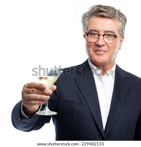 senior cool man toast  - stock photo