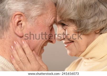 Senior couple at home - stock photo