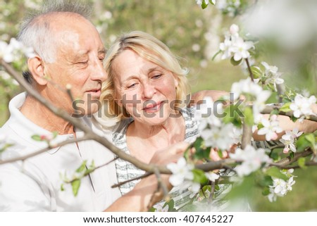 Senior couple enjoying a moment in their blossoming garden.  - stock photo