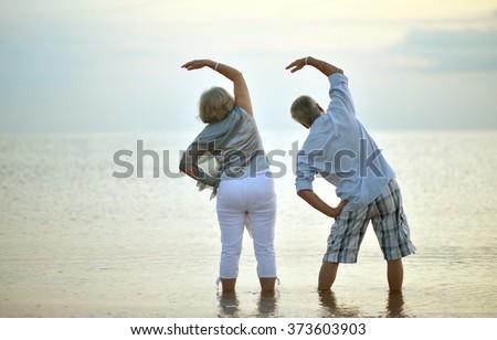 senior couple exercising - stock photo