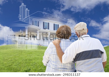 Senior Couple Faces Ghosted House Drawing, Partial Photo and Rolling Green Hills Behind. - stock photo