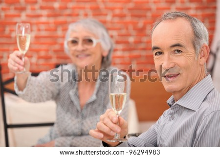Senior couple having a dinner in a restaurant - stock photo