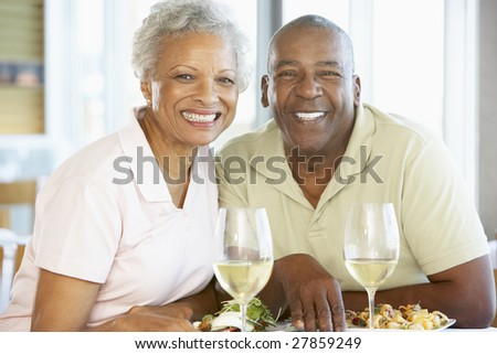Senior Couple Having Lunch Together At A Restaurant - stock photo