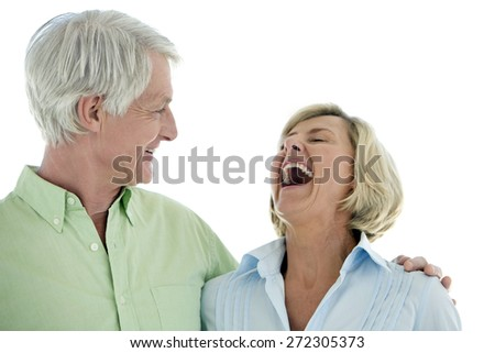 Senior couple in love. Isolated on white background with copy space. - stock photo
