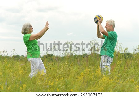 Senior couple in summer field with ball in summer field - stock photo