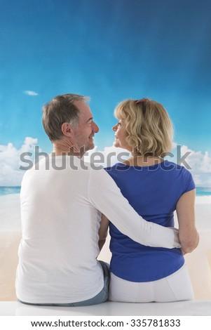 Senior couple outside - stock photo