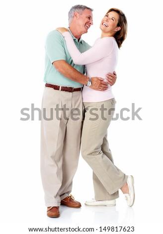 Senior couple portrait. Isolated on white background. - stock photo