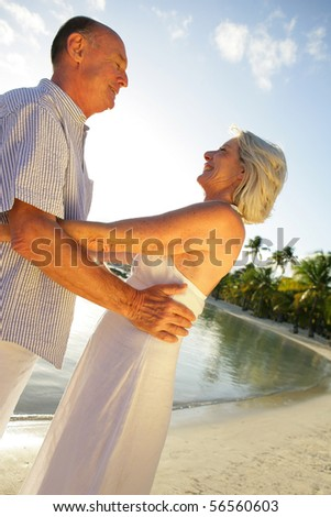 Senior couple smiling embracing next to the sea - stock photo