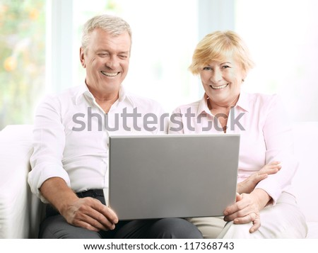 Senior couple using a laptop at home - stock photo