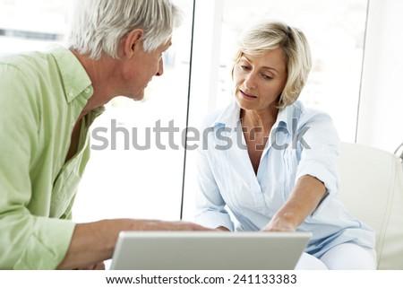 Senior couple using computer - stock photo