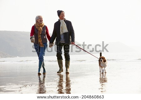 Senior Couple Walking Along Winter Beach With Pet Dog - stock photo