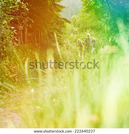 Senior couple walking on hiking trail in nature in summer - stock photo