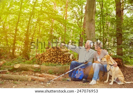 Senior couple with dog seeing goal of hiking trip in a forest - stock photo