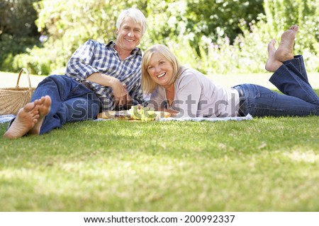 Senior couple with picnic in park - stock photo