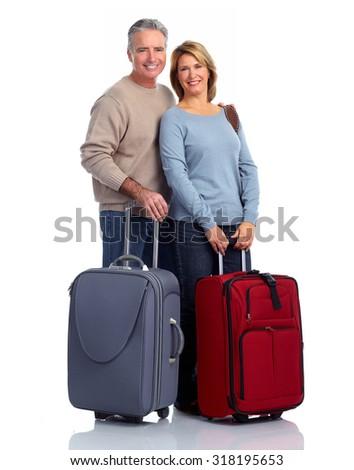 Senior couple with suitcase isolated white background. - stock photo