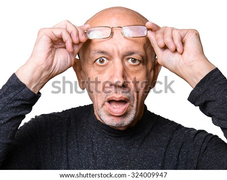 Senior, elderly man in glasses, looking shocked, open mouth isolated on white background - stock photo