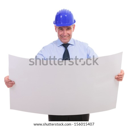 senior engineer holding a spread project and smiling for the camera. isolated on white background - stock photo