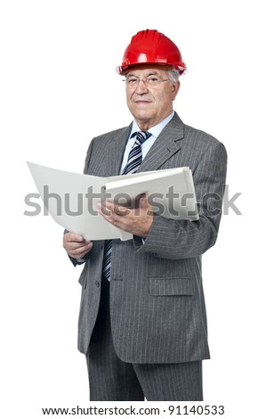 Senior engineer with helmet and file isolated in white - stock photo