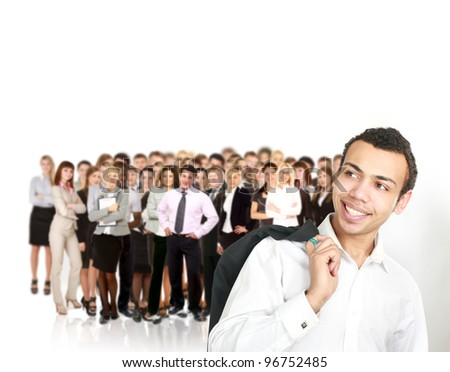 senior executive standing in front of team - stock photo