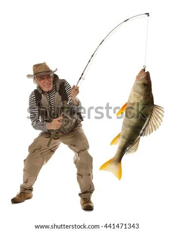 Senior fisherman with big fish - perch (Perca fluviatilis) isolated on white - stock photo