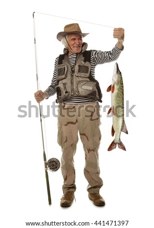 Senior fisherman with big fish - Pike (Esox Lucius) isolated on white - stock photo
