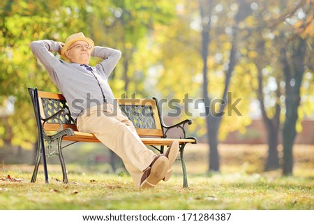 Senior gentleman sitting on a wooden bench and relaxing in a park - stock photo