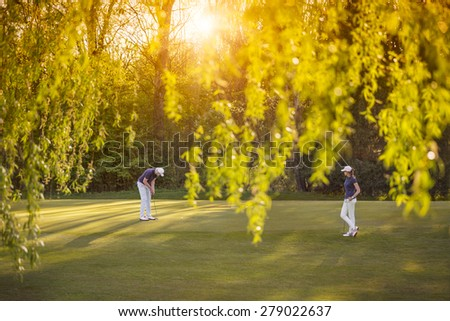Senior golf player couple putting on green at sunset, with beautiful tree in foreground. - stock photo